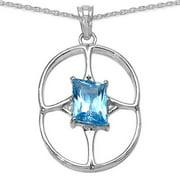 JEWELRYAUCTIONSTV Sterling Silver 5 1/5ct Genuine Fancy-cut Swiss Blue Topaz Pendant