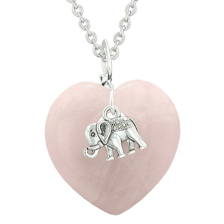 Lucky Elephant Charm Amulet Puffy Magic Powers Heart Rose Quartz Pendant 18 inch Necklace Handmade Puffy Heart