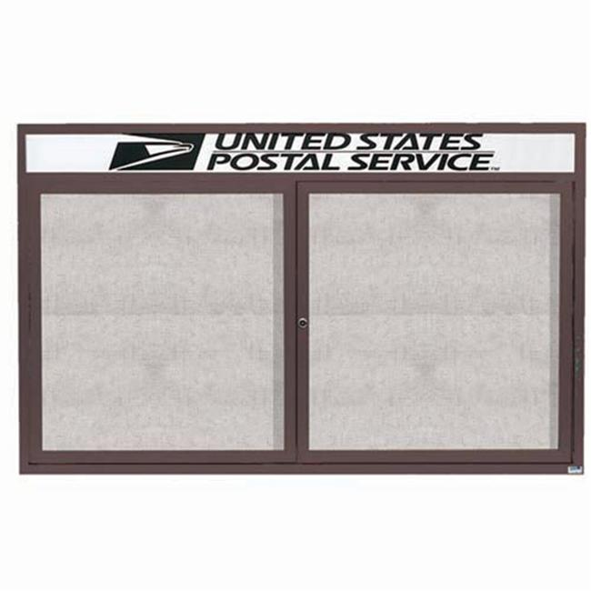 Aarco Products ODCC3660RHIBA Illuminated Outdoor Enclosed Bulletin Board with Header - Bronze Anodized
