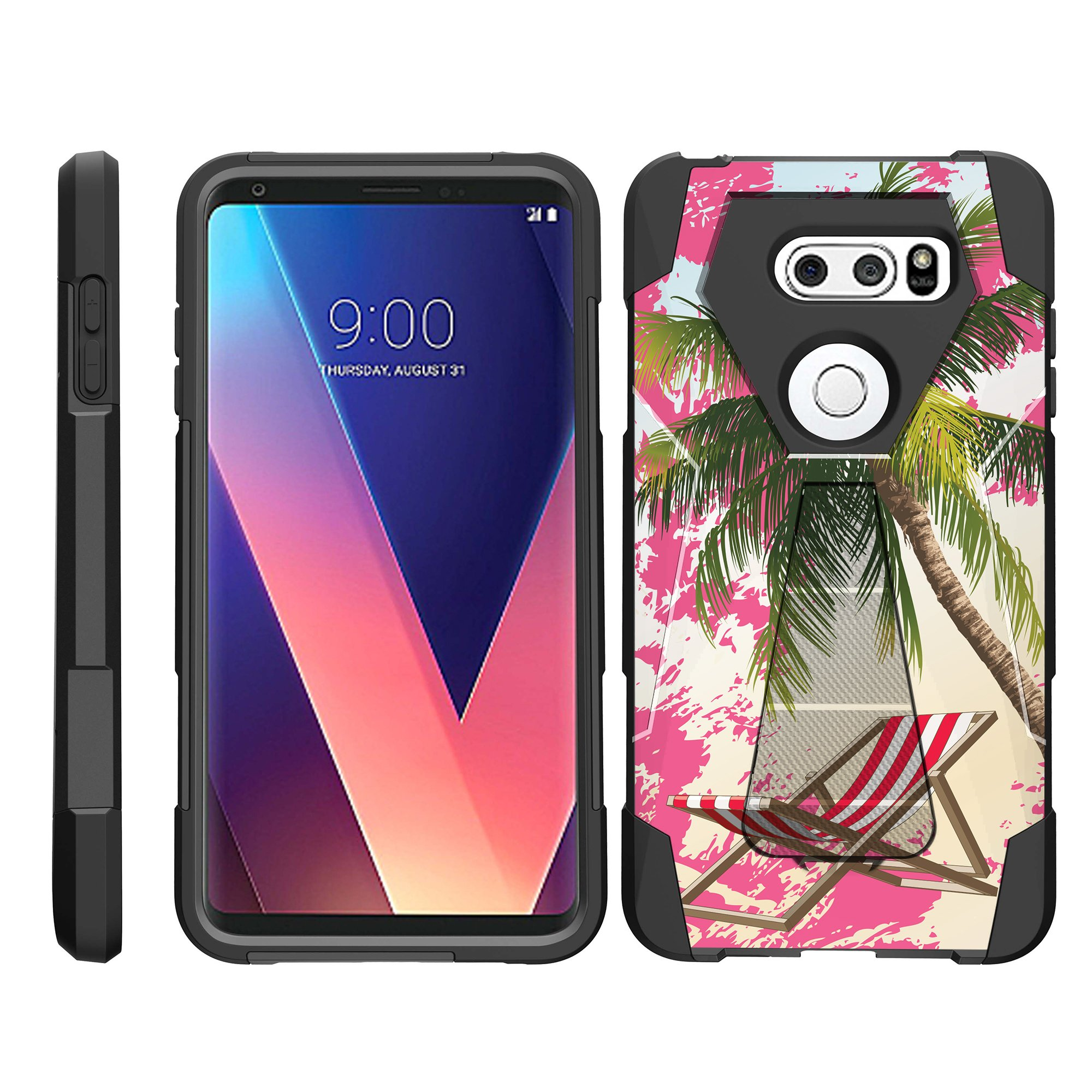 TurtleArmor ® | For LG V30 / LG V30+ / LG V30 Plus [Dynamic Shell] Dual Layer Hybrid Silicone Hard Shell Kickstand Case - Swimming Pool