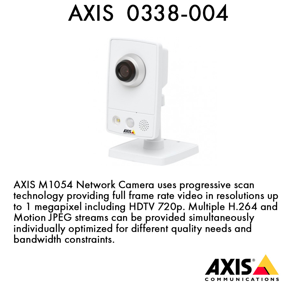 Axis 0338-004 Communications M1054 720p Network Camera, Power over Ethernet