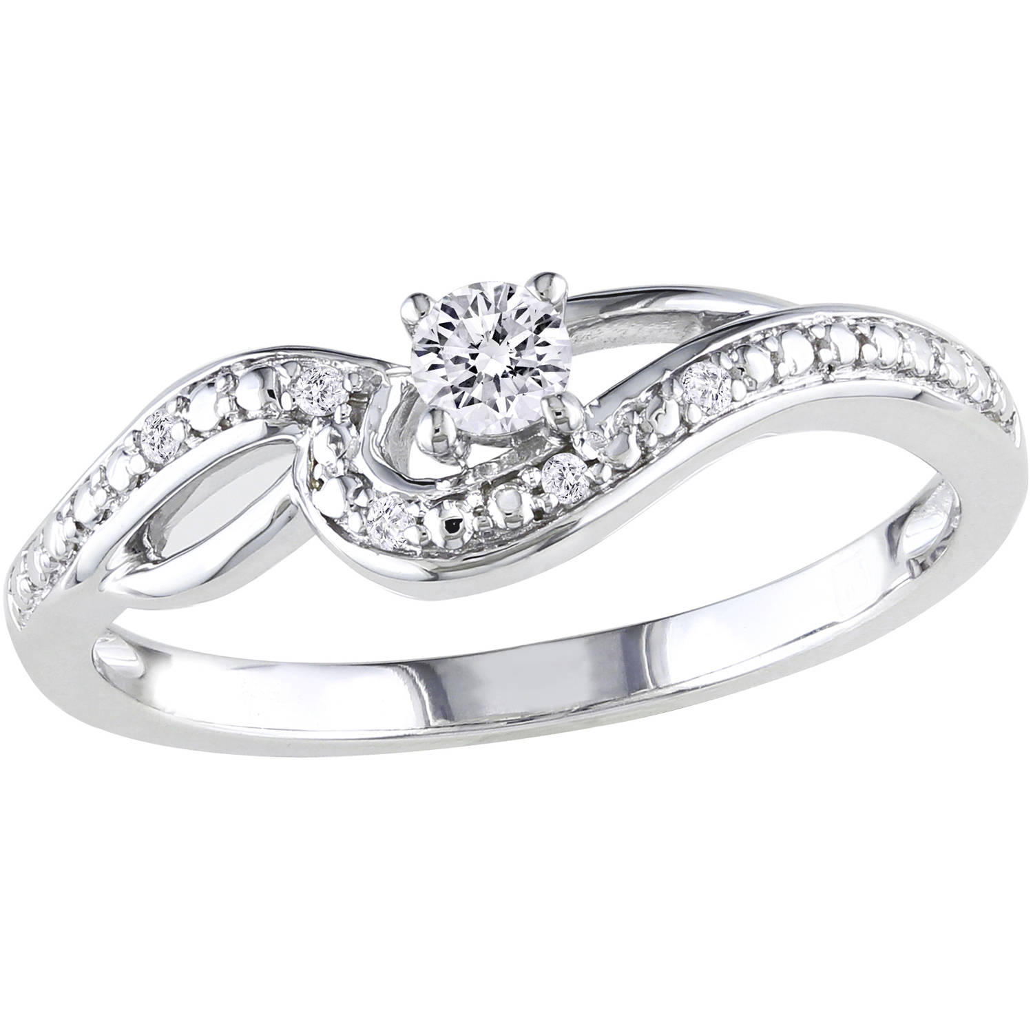 Miabella 1/7 Carat T.W. Diamond 10kt White Gold Bypass Engagement Ring