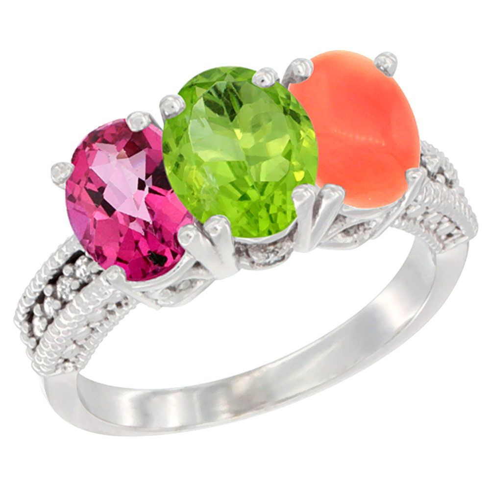 14K White Gold Natural Pink Topaz, Peridot & Coral Ring 3-Stone 7x5 mm Oval Diamond Accent, sizes 5 10 by WorldJewels