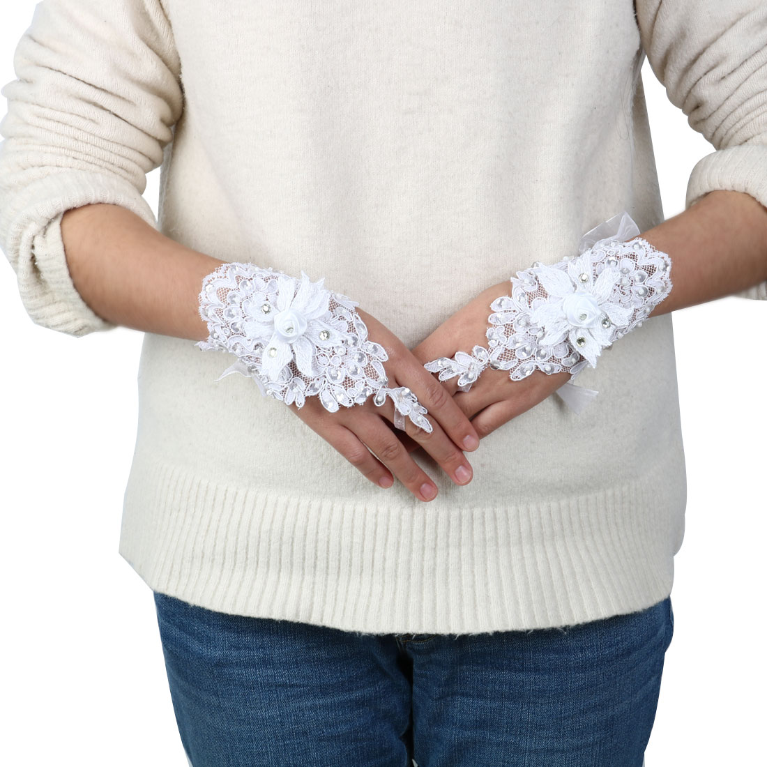 Lady Rose Decor Embroidery Bridesmaid Hand Ornament Lace Fingerless Glove Pair