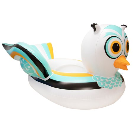 Swimline 90721M Swimming Pool Lake Giant Rideable Owl Inflatable Float, White](Giant Inflatable)