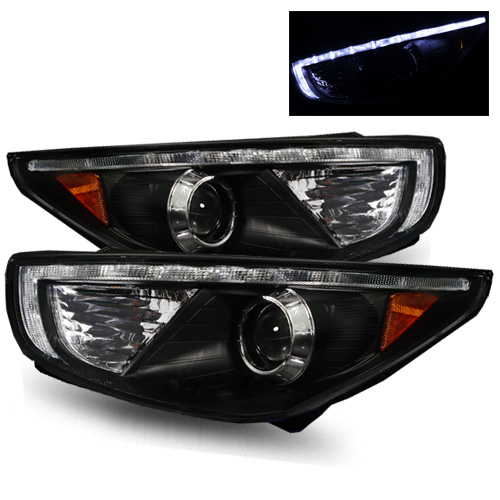 For 2010-2013 Tucson Black Hi-Power LED Strip Projector Headlights Lamps