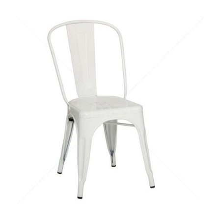 Stackable Industrial Industrial A Style Dining Chair- Steel Chairs-  Stacking Chair Dining Room Chair Side Chair Metal-White