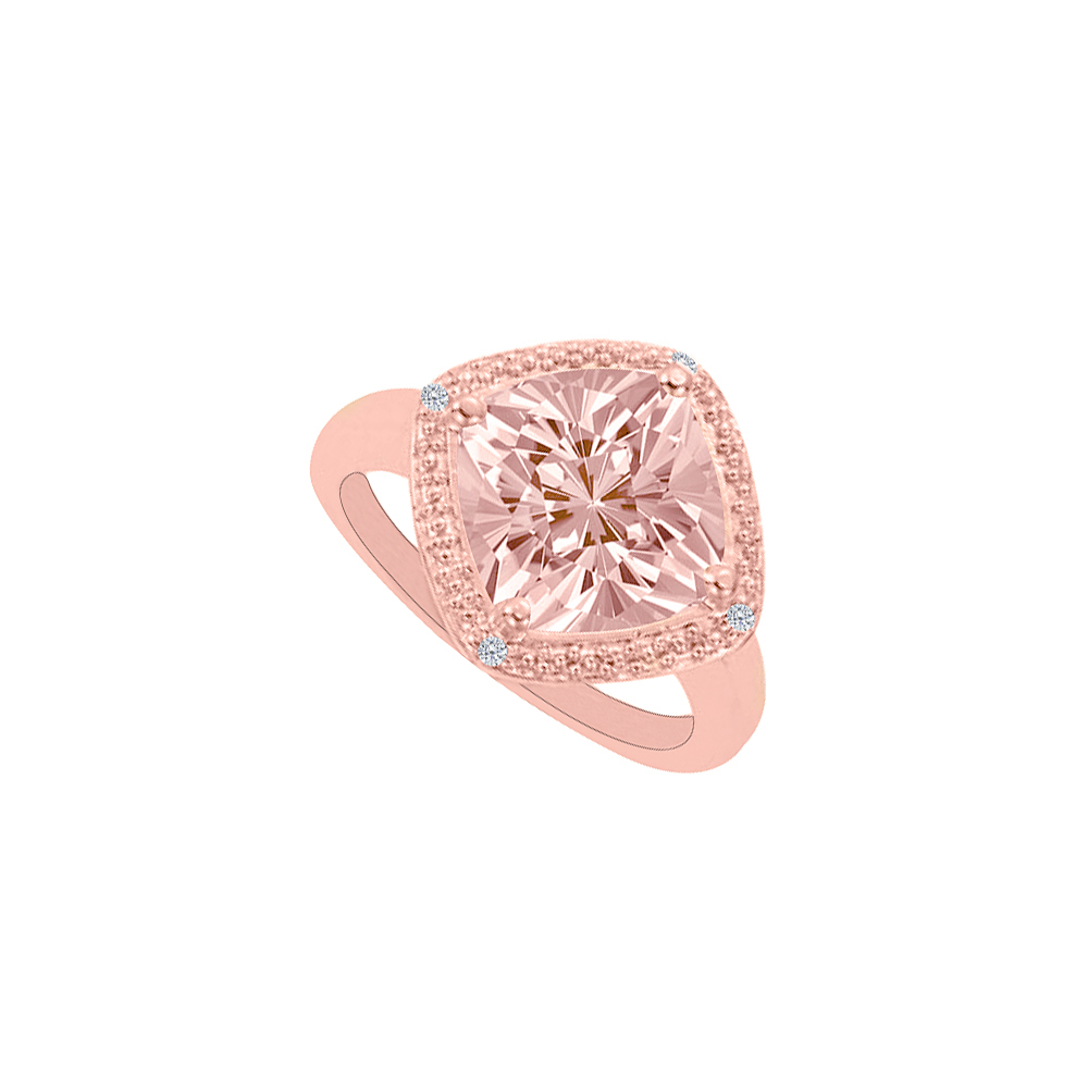 Jewelry Square Morganite Haloed by Natural Diamonds Bridal Ring - image 1 de 1