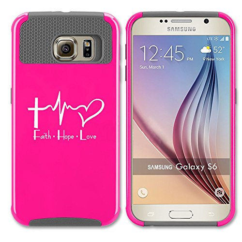 Samsung Galaxy S7 Edge Shockproof Impact Hard Case Cover Faith Hope Love EKG Christian (Hot Pink-Grey ),MIP