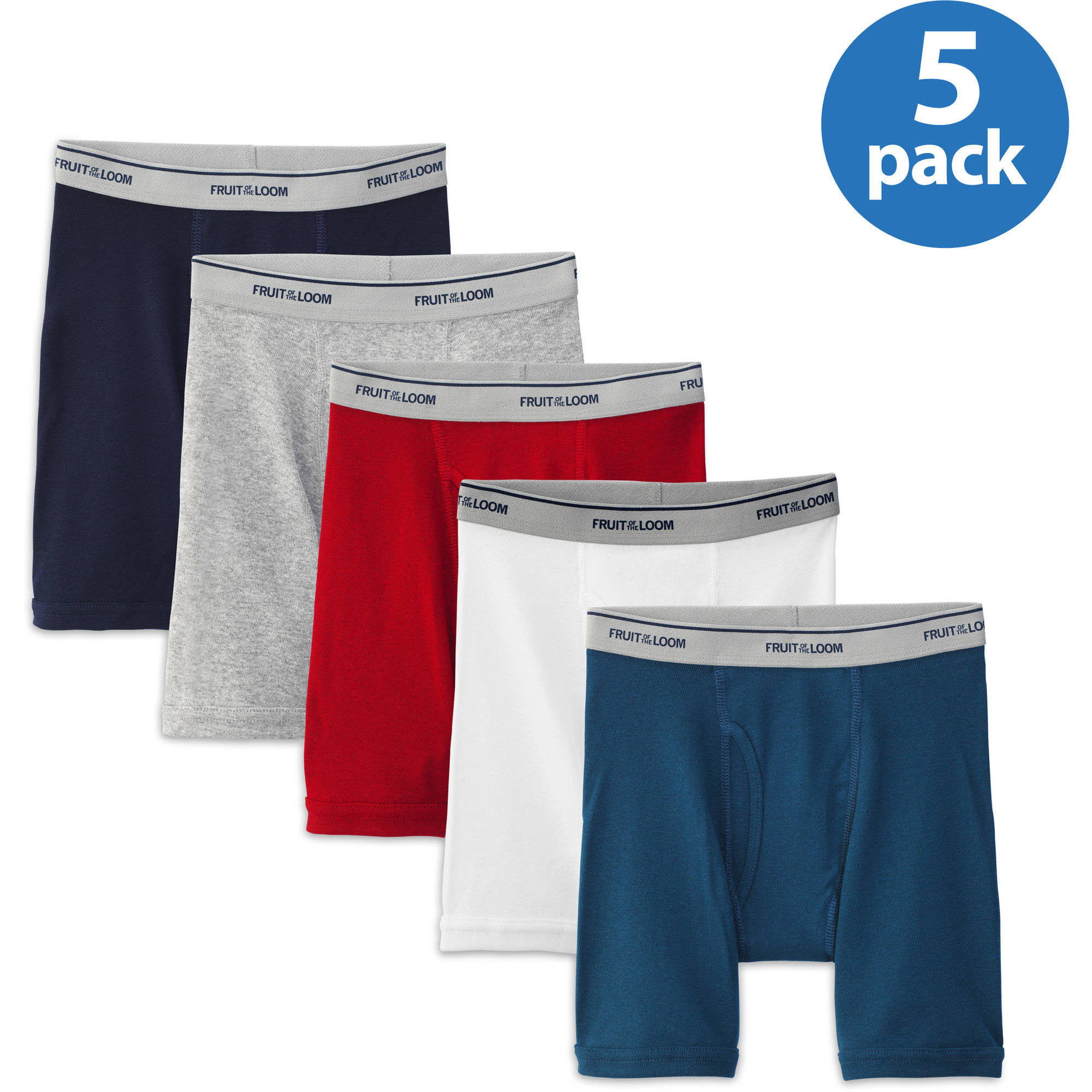 Fruit of the Loom Boys' Assorted Color Boxer Briefs, 5 Pack