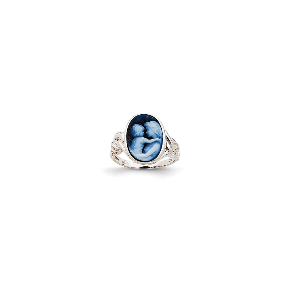 14k White Gold Everlasting Love 10x14mm Agate Cameo Ring.