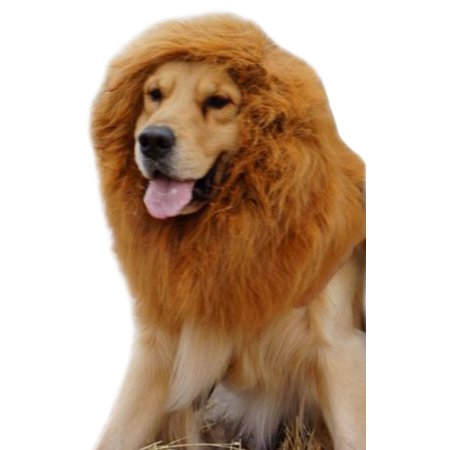 AMC Lions Mane Wig for Large Dogs, Furry Pet Costume, Light Brown, 15.5