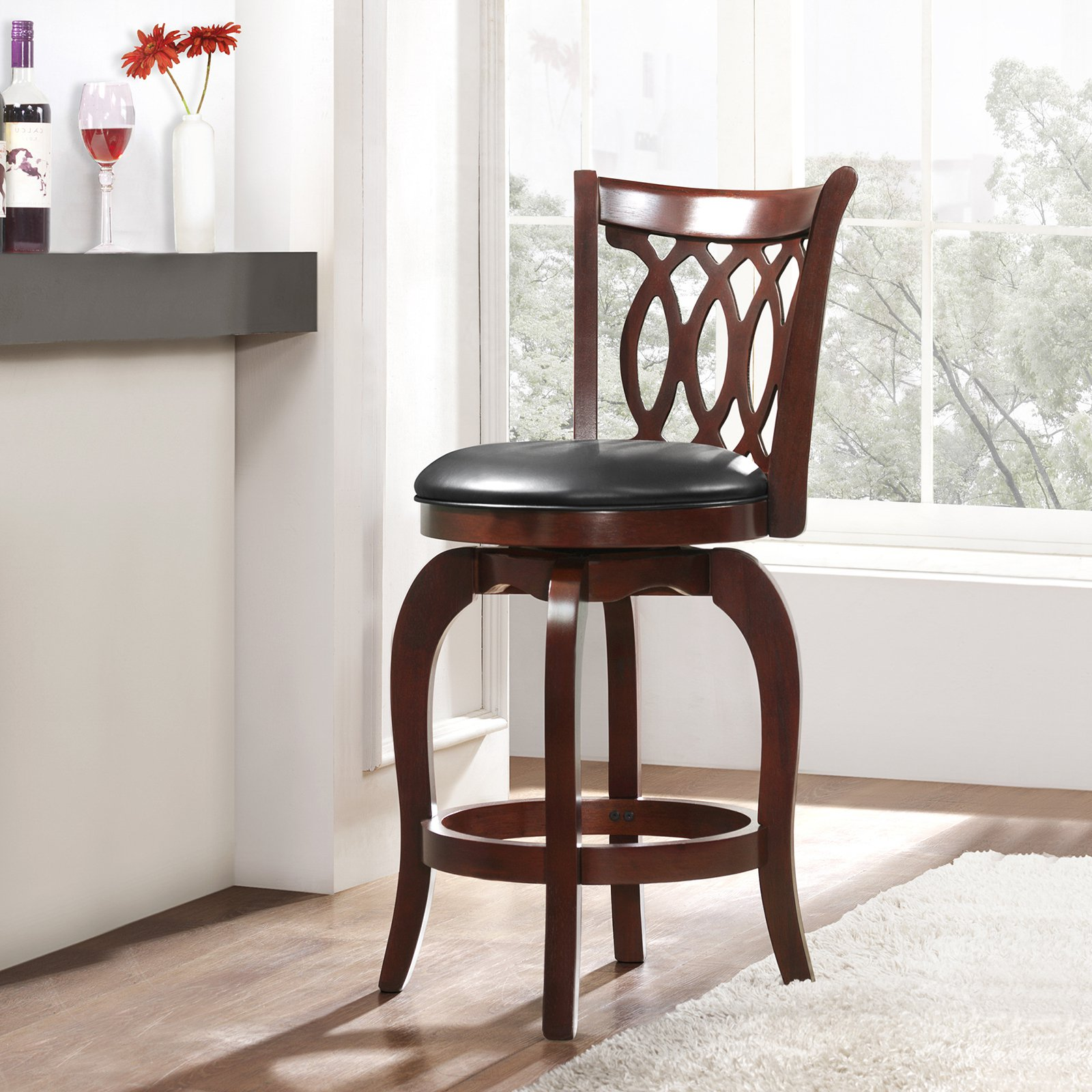Weston Home Campton 24 in. Swivel Motif Design Stool with Faux Leather Cushion - Cherry