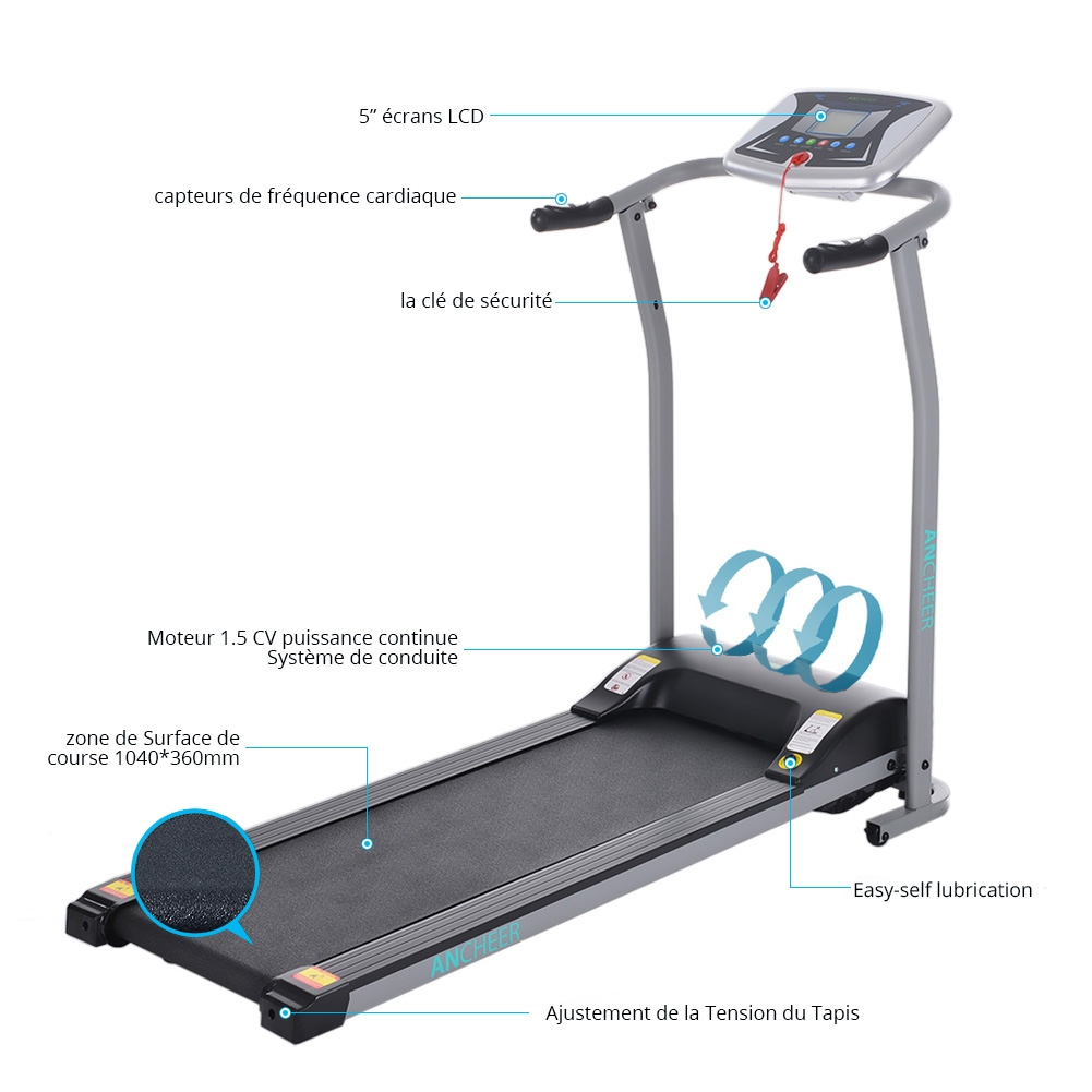 Foldable Treadmill Running Training Fitness Electric Trea...