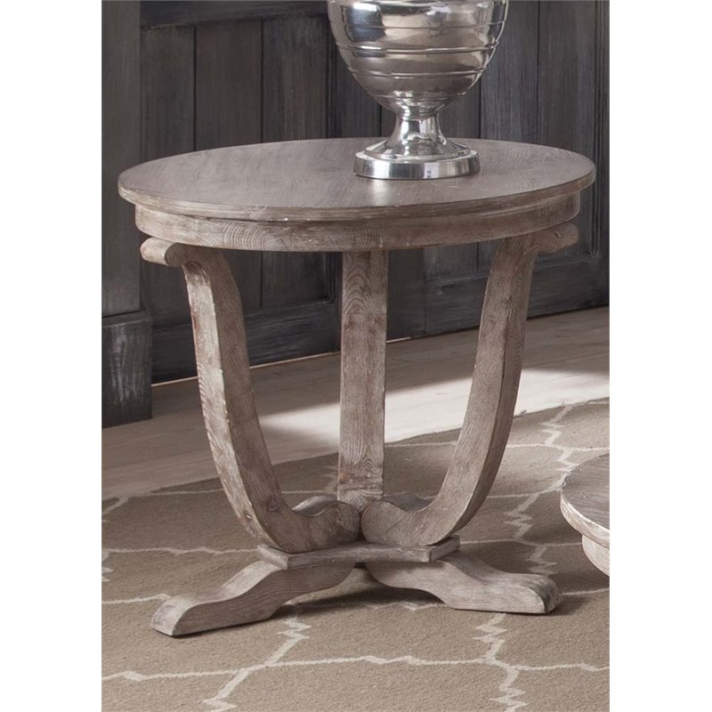Liberty Furniture Greystone Mill End Table in Stone White Wash