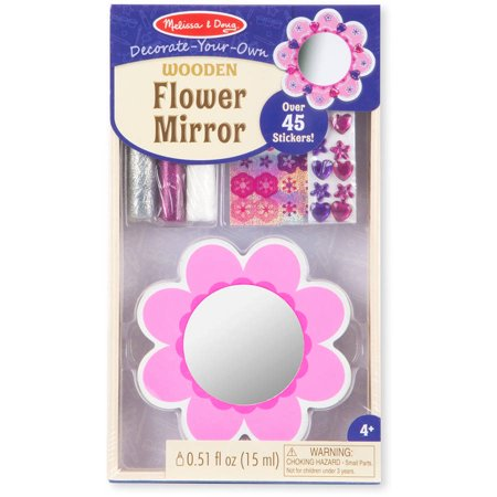 Melissa Doug Decorate Your Own Wooden Pocket Sized Flower Mirror