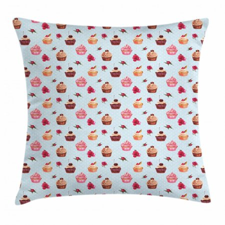 Cupcake Throw Pillow Cushion Cover, Valentines Lovers Muffins with Romantic Roses Cherry on Polka Dot Retro Background, Decorative Square Accent Pillow Case, 18 X 18 Inches, Multicolor, by Ambesonne