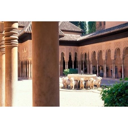 Patio de los Leones in the Alhambra Granada Spain Stretched Canvas - John & Lisa Merrill  DanitaDelimont (18 x 12) ()
