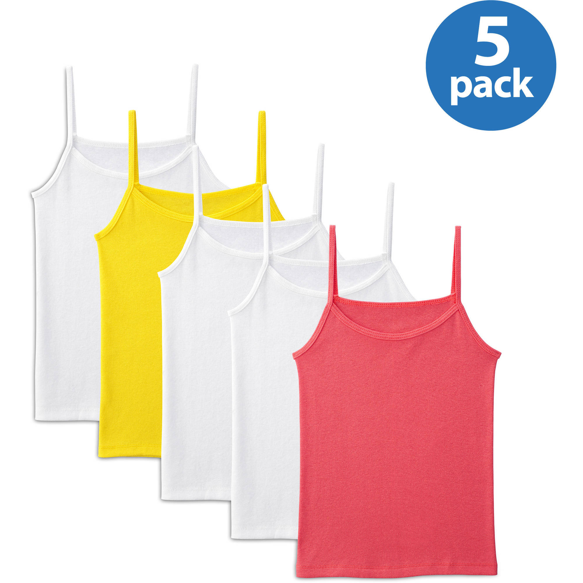 Fruit of the Loom Girls' Solid Cami, Wear Me Two Ways Spin Feature, 5-Pack