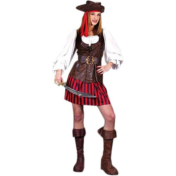 Adult High Seas Buccaneer Pirate Lady Costume~Small 2-8 / Brown