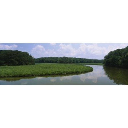 Reflection of clouds in water Colonial Parkway Williamsburg Virginia USA Canvas Art - Panoramic Images (18 x - Williamsburg Halloween