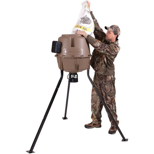 Moultrie 30-Gallon Easy-Fill Easy-Lock Synthetic Tripod Deer Feeder