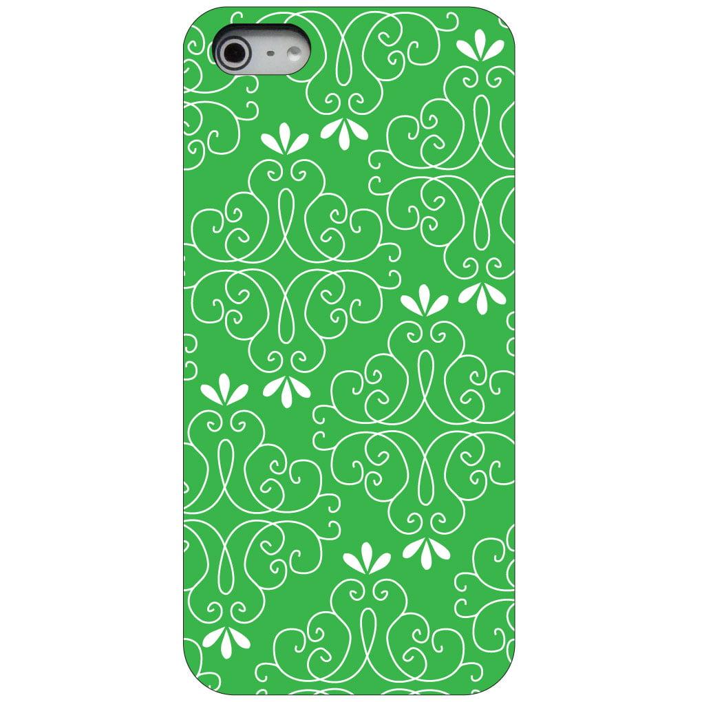 CUSTOM Black Hard Plastic Snap-On Case for Apple iPhone 5 / 5S / SE - Forest Green White Floral