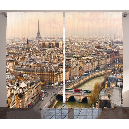 Rivera Living Room Set (Eiffel Tower Decor Curtains 2 Panels Set, Paris Streets Busy Day Buildings Bridge River City Symbol Horizon Photography Print, Living Room Bedroom Accessories, By Ambesonne )