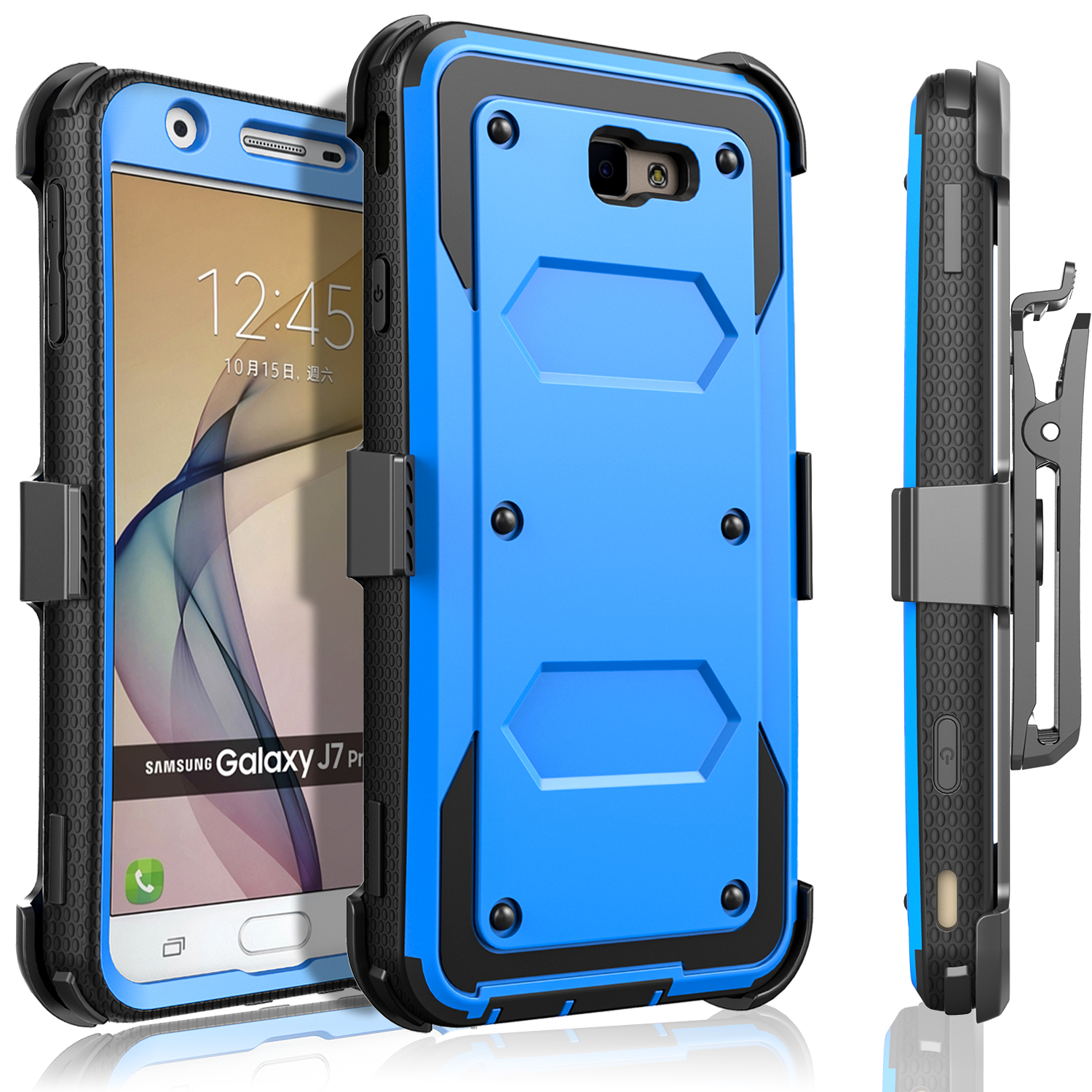 Galaxy J7 Prime Case, Galaxy On7 Case, [SUPER GUARD] Dual Layer Protection With [Built-in Screen Protector] Holster Locking Belt Clip+Circle(TM) Stylus Touch Screen Pen (Blue)