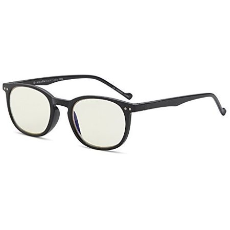 GAMMA RAY 010 Slim Vintage Computer Readers Reading Glasses Anti Reflective Anti Glare Anti Eyestrain Lens for Digital Screens, UV400 (Ray Ban Round Black Glasses)
