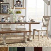Product Image Inspire Q Eleanor Antique White Farmhouse Trestle Base 6 Piece Dining Set Slat Back