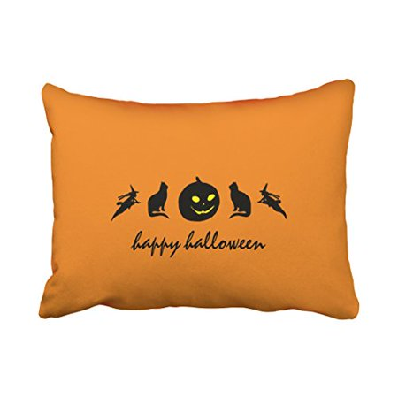 WinHome Vintage Fashion Happy Halloween Pumpkin Cat Witch Silhouette Pattern Polyester 20 x 30 Inch Rectangle Throw Pillow Covers With Hidden Zipper Home Sofa Cushion Decorative Pillowcases - Halloween Pumpkin Patterns Cat