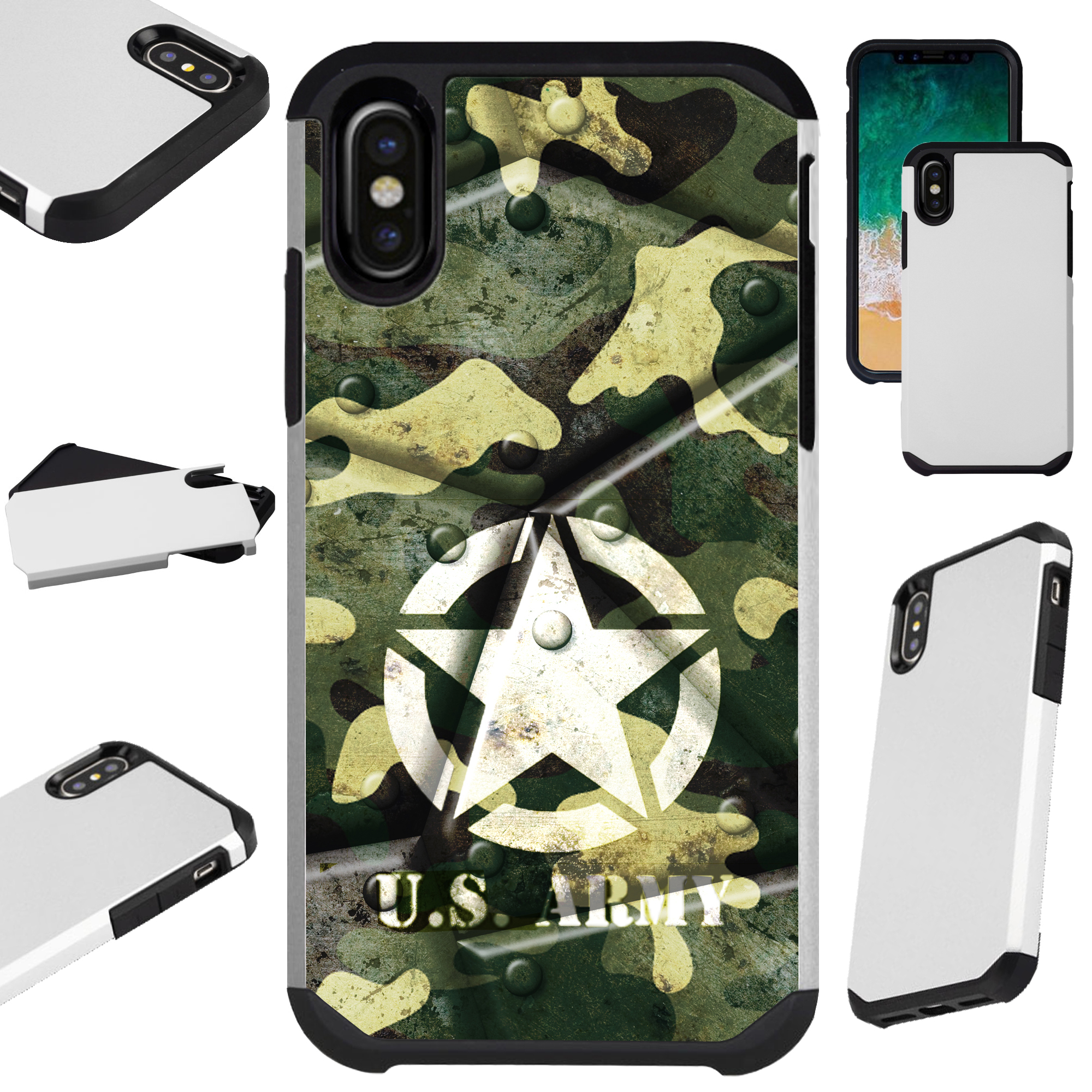 """Compatible With Apple iPhone XR 6.1"""" Case Hybrid TPU Fusion Phone Cover (US Army Metal Shell)"""