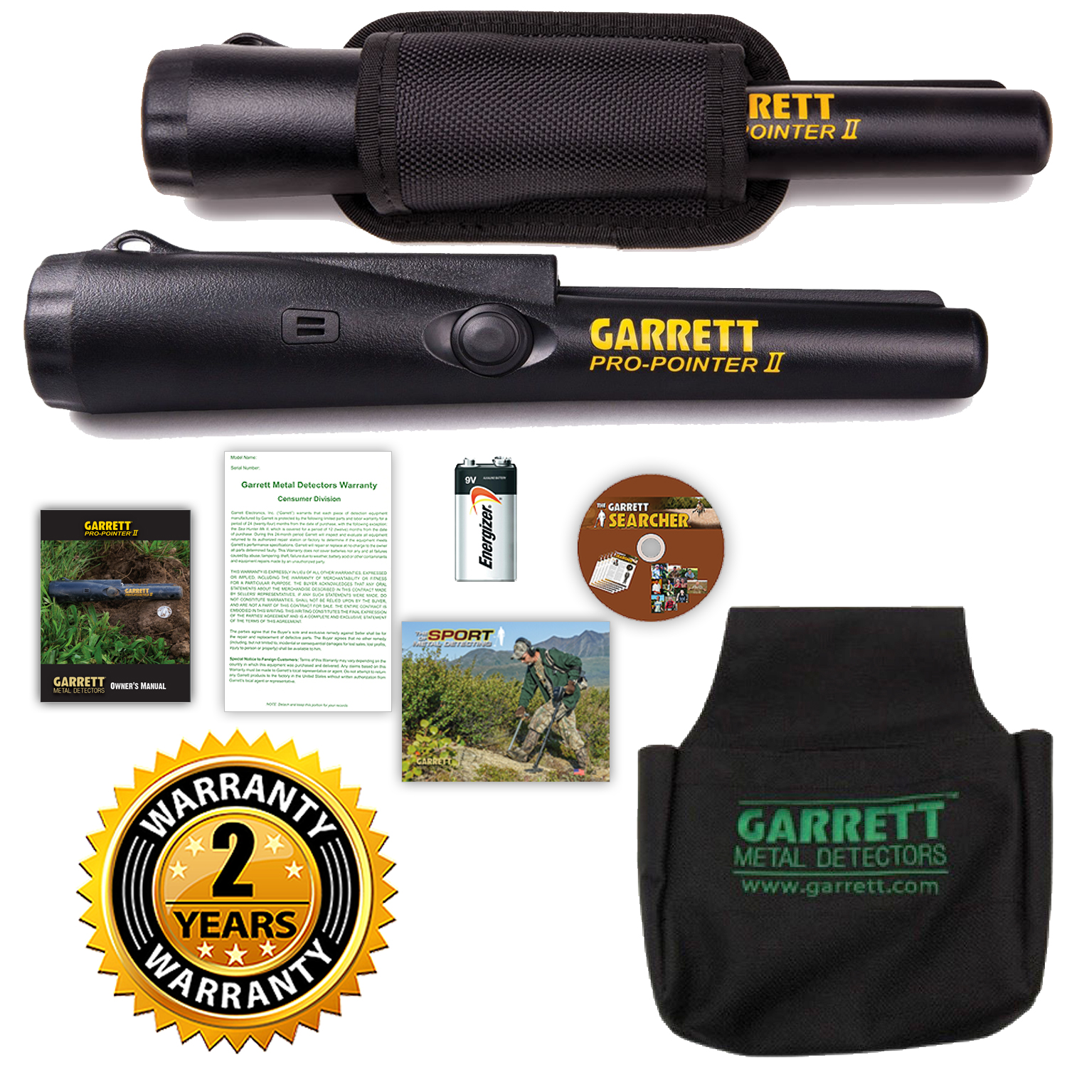 Garrett Pro-Pointer II and Black Treasure Pouch Metal Detecting Finds Bag