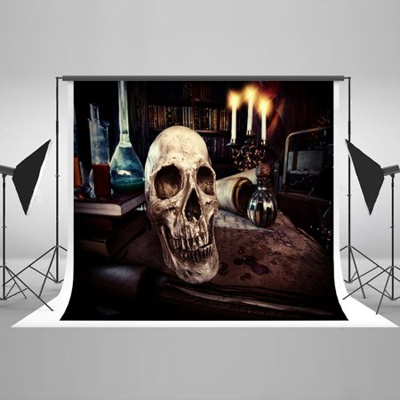 GreenDecor Polyester Fabric Halloween Brown Backdrop Dark Room Skeleton Candles Blood Papers Bloody Backgrounds for Halloween Photography Photo Pros 7x5ft](Bloody Halloween Backgrounds)