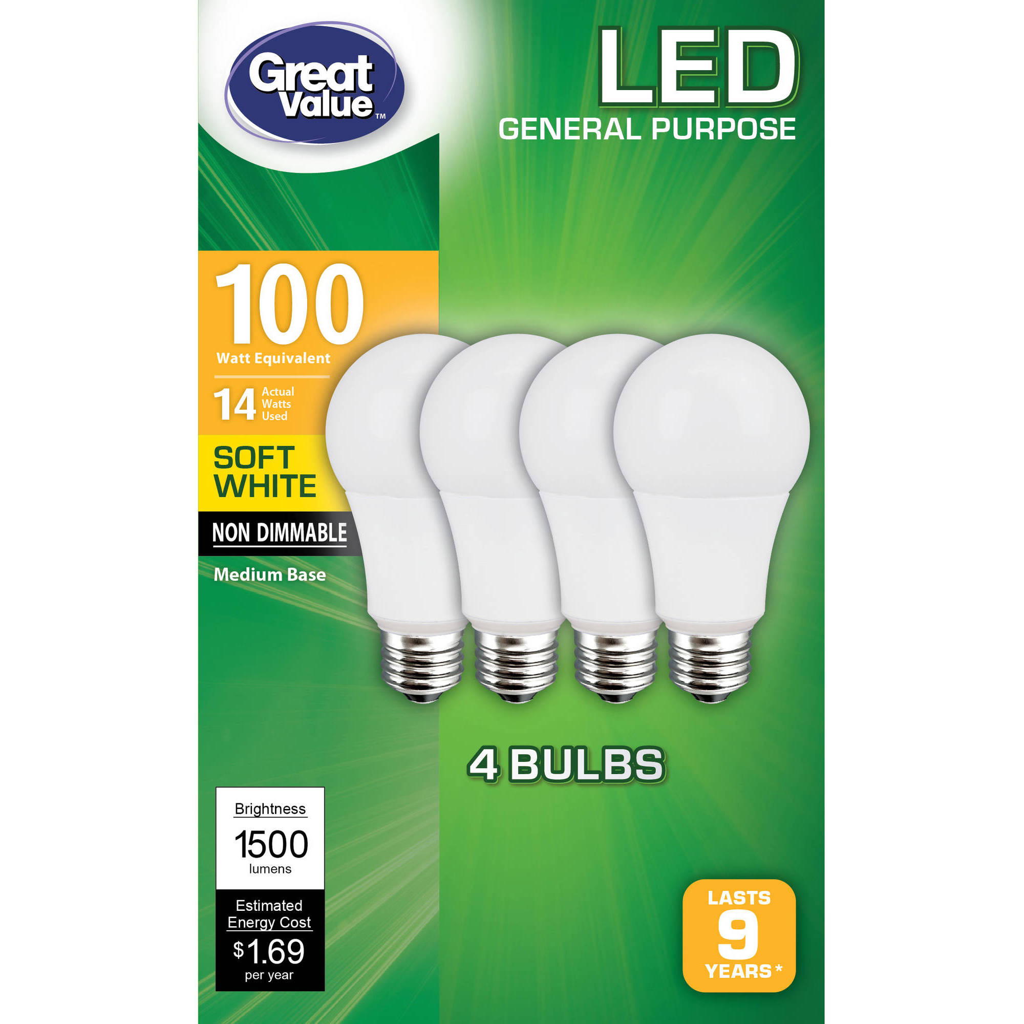 Great Value LED Light Bulbs, 14W (100W Equivalent), Soft White, 4-count