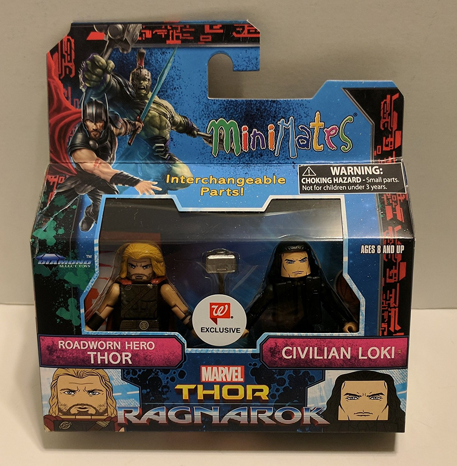 Marvel Thor: Ragnarok Roadworn Thor & Civilian Loki Walgreens Minifigures, 2 inch Minifigures with exchangeable parts and 14 points of.., By Minimates Ship from US