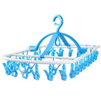 High Quality Laundry Hanger Windproof Drying Rack - Foldable Clip and Drip Hanger with 32 Clips Clothes Drying Rack Sock Hanger Sky Blue