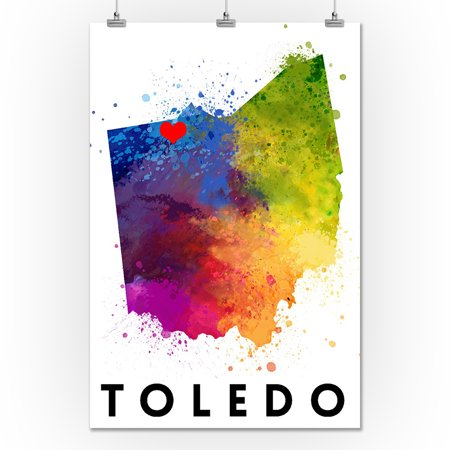 Red Abstract Gallery (Toledo, Ohio - State Abstract Watercolor - Red Heart - Lantern Press Artwork (24x36 Giclee Gallery Print, Wall Decor Travel)