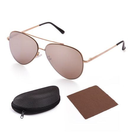 - Aviator Sunglasses for Men with Case, Flat Brown Mirrored 61mm Shatterproof Lens, Gold Metal Frame, UV400 Protection,Spring Loaded Hinges