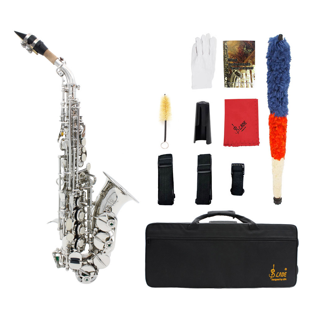LADE Brass Carve Pattern Bb Bend Althorn Soprano Saxophone with Case and Golves, Silver
