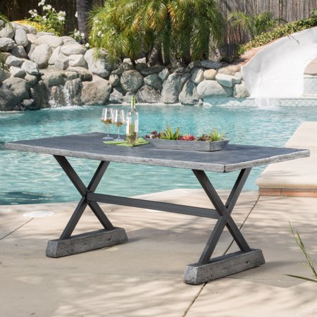 Le House Olivia Outdoor Rectangular Magnesium Oxide Dining Table Grey