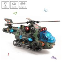 Vokodo Military Helicopter With Lights Sounds Bump And Go Self Riding Army Chopper Aircraft Toy Durable Battery Operated Kids Action Airplane Pretend Play Great Gift For Children Boys Girls Toddlers