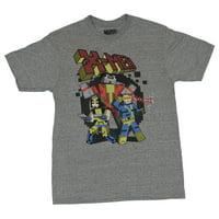 X-men (Marvel Comics) Mens T-Shirt- Battle Ready Trio Pixel Block Style Image