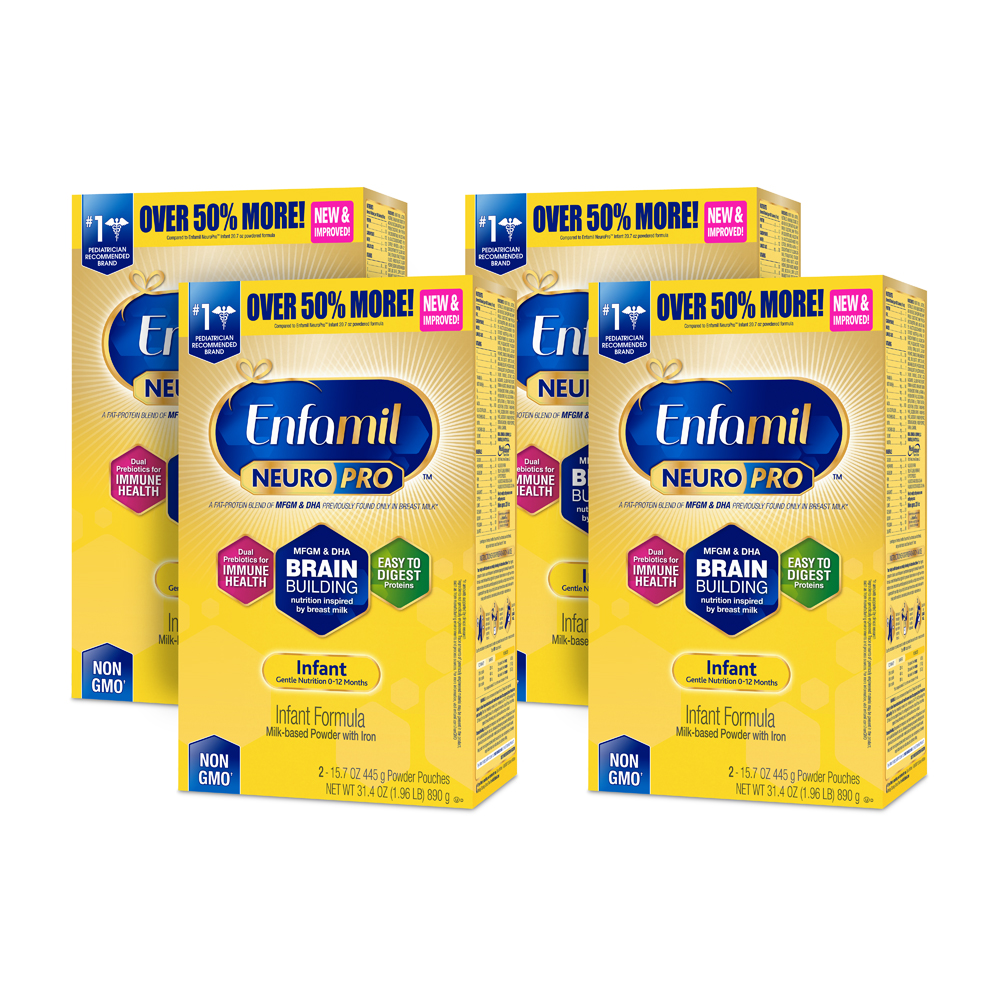 Enfamil Infant NeuroPro Baby Formula, 31.4 oz Powder Refill Box (4 Pack) by Enfamil