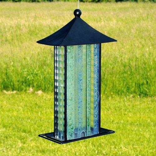 Fused Glass Bird Feeder - Striped