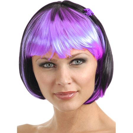 Women's 2-Tone Black and Purple Costume Bob Wig With Bangs](Purple Bob)