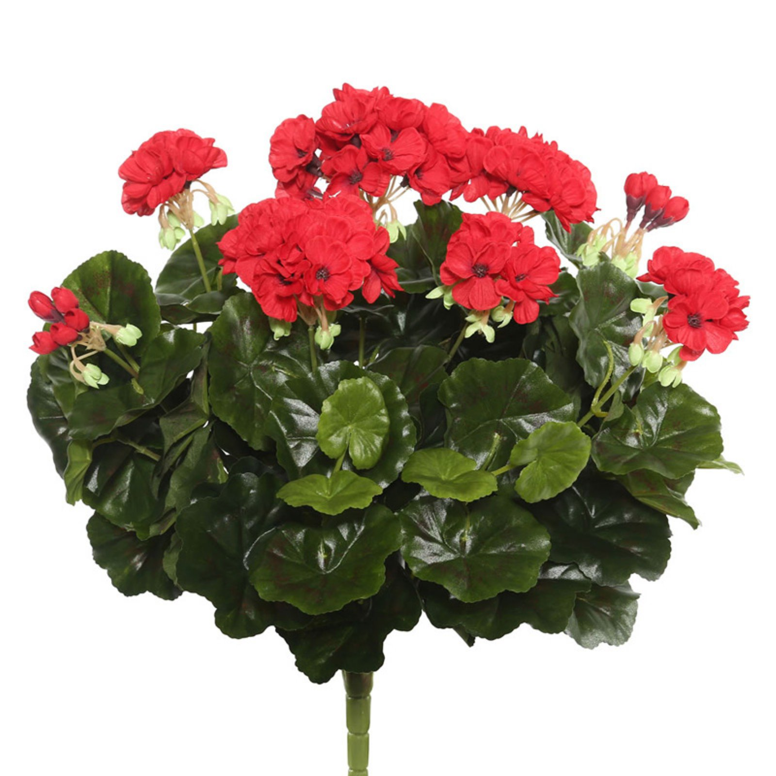 "Vickerman 17.5"" Red Polyester Geranium Bush with 96 Leaves and 115 Flowers and Buds"