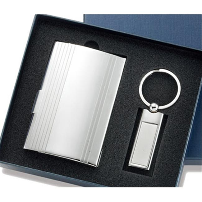 Aeropen International GCU-97 Set Silver Card Case with Long Rectangle Silver Key Ring in Gift Box