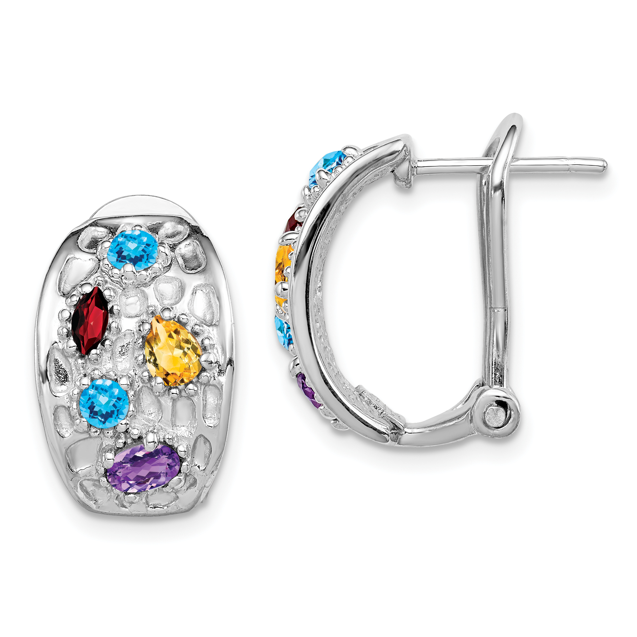 Sterling Silver Rhodium-plated with Garnet Blue Topaz /& Citrine Post Earrings